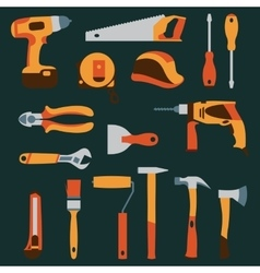 Color collection icons of builder equipment vector
