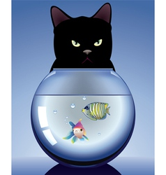 Cat and aquarium vector