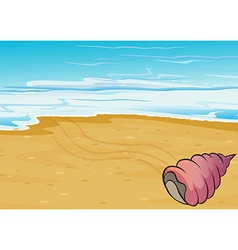 A seashell at the seashore vector