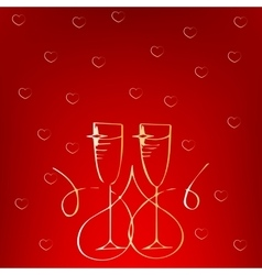Champagne glass with heart isolated on white vector image