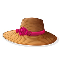 A brown hat with a pink ribbon vector