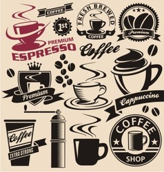 Set of coffee symbols icons and signs vector image