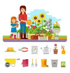woman gardener plants a flower and takes care of vector image