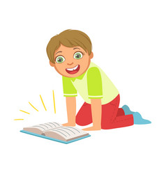 Boy laughing reading a book part of kids loving vector