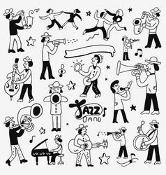 Musicians doodles set vector