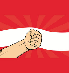 Austria fight protest symbol with strong hand and vector