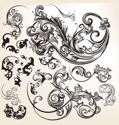 Vintage styled hand drawn flourishes vector