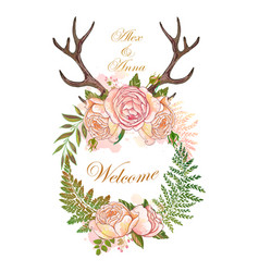 Wedding wreath magic floral and animal elements vector