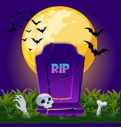 gravestone at night with full moon halloween vector image