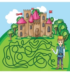 Maze game - hehp princ find the way to his castle vector