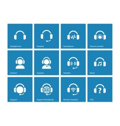 Headphone icons on blue background vector