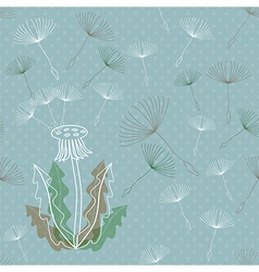 Dandelion seamless pattern vector