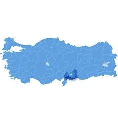 Map of turkey gaziantep vector