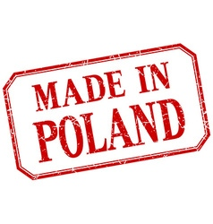 Poland - made in red vintage isolated label vector