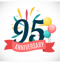 Anniversary 95 years template with ribbon vector