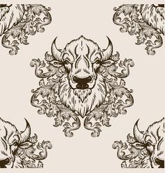 Bison head seamless pattern vector