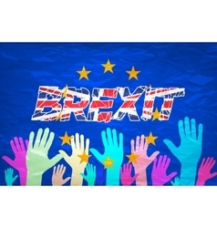 Brexit text isolated art colorfull hand vector