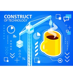 Bright construct crine and coffee on blue ba vector