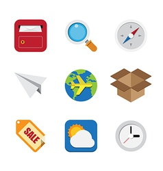Business and interface flat icons set vector image