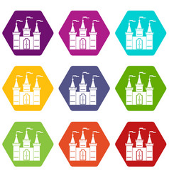 Castle icon set color hexahedron vector