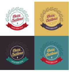 collection of retro christmas greeting cards vector image