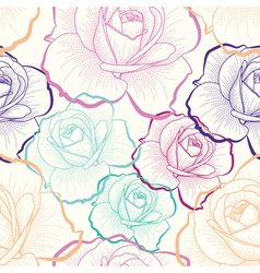 Color outline roses on white seamless pattern vector
