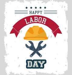 Colorful poster of happy labor day with protective vector