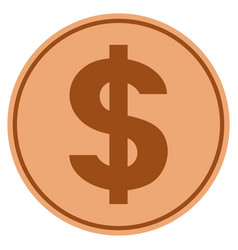 dollar symbol bronze coin vector image vector image