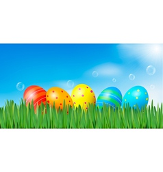 easter background with easter eggs vector image