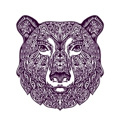 Ethnic ornamented bear hand drawn vector