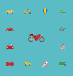 flat icons transport jeep bicycle and other vector image vector image