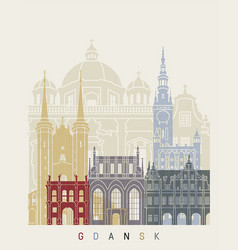 gdansk skyline poster vector image vector image