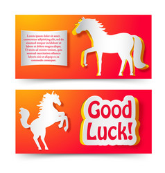 Good luck wishing new year paper banners vector