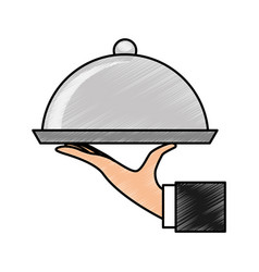 Hand waiter with tray server isolated icon vector