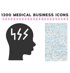 headache icon with 1300 medical business icons vector image