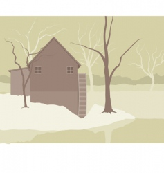 Landscape and mill vector