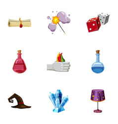 Magic tricks icons set cartoon style vector