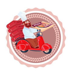 man cook deliver pizza riding retro scooter vector image vector image