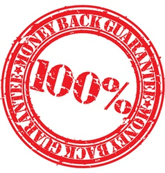 Money back guarantee 100 percent stamp vector image vector image