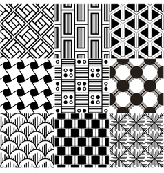 monochrome seamless geometric pattern vector image