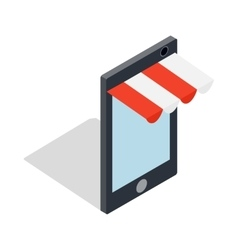 Online shopping from phone icon vector
