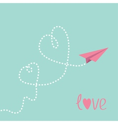 Origami paper plane Two dash heart in the sky Love vector image vector image