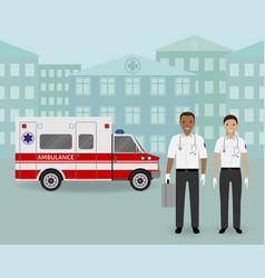 Paramedics ambulance team and ambulance car on vector