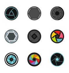 photography icons set flat style vector image vector image