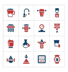 Set color icons of water filters vector