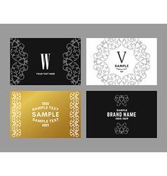Set of four elegant monochrome black gold and vector