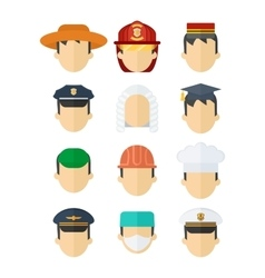 set of professional mans hats vector image