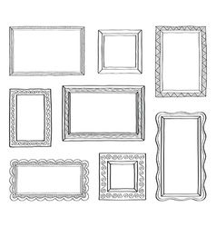 set of vintage photo frames hand drawn vector image
