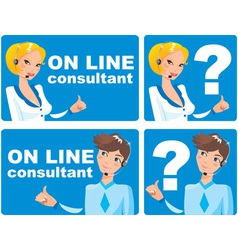 web icons - on line consultant vector image