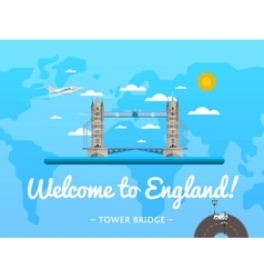Welcome to England poster with famous attraction vector image vector image